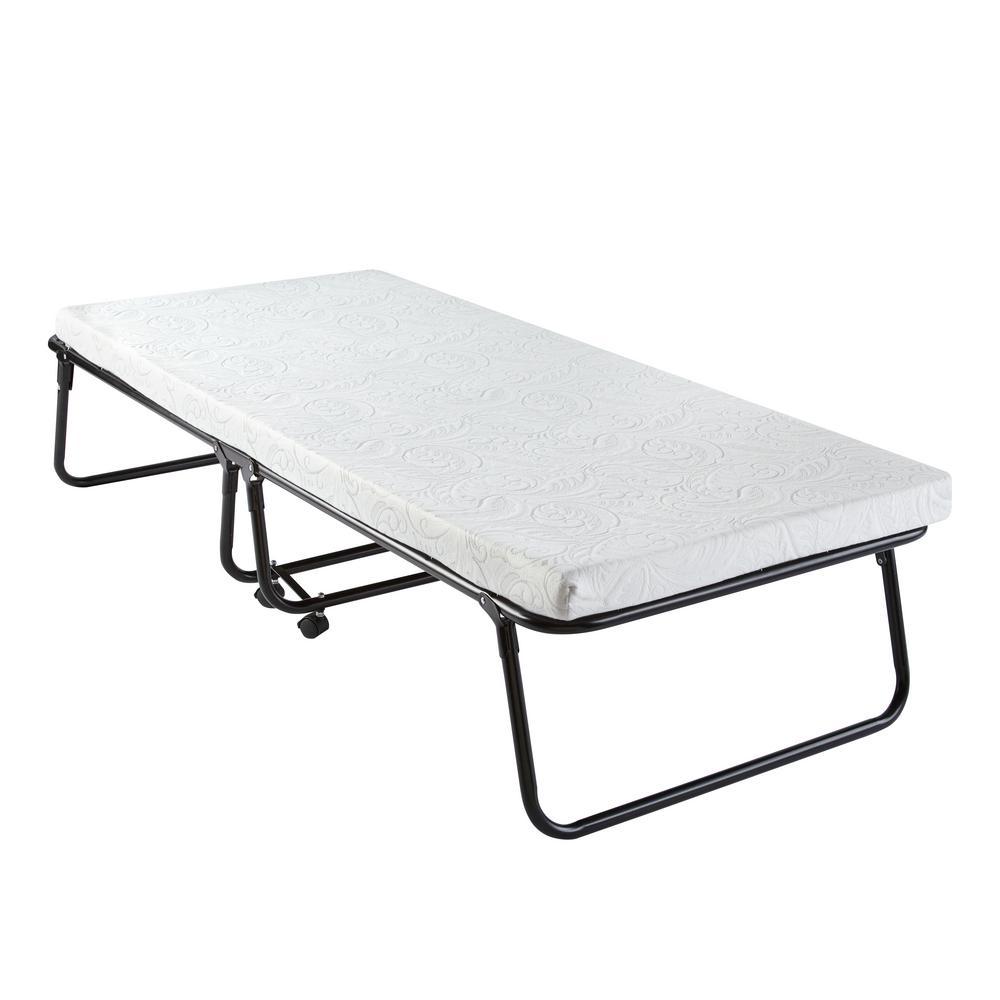 Easy Sleep Steel Twin Size Folding Roll Away Guest Bed with Memory Foam Mattress