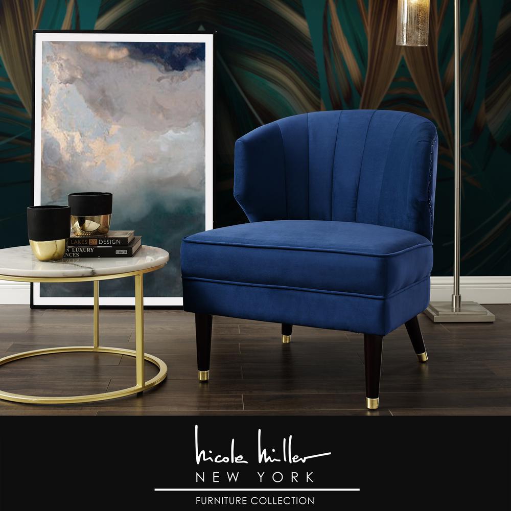 Nicole Miller Harold Navy Velvet Accent, Nicole Miller Furniture