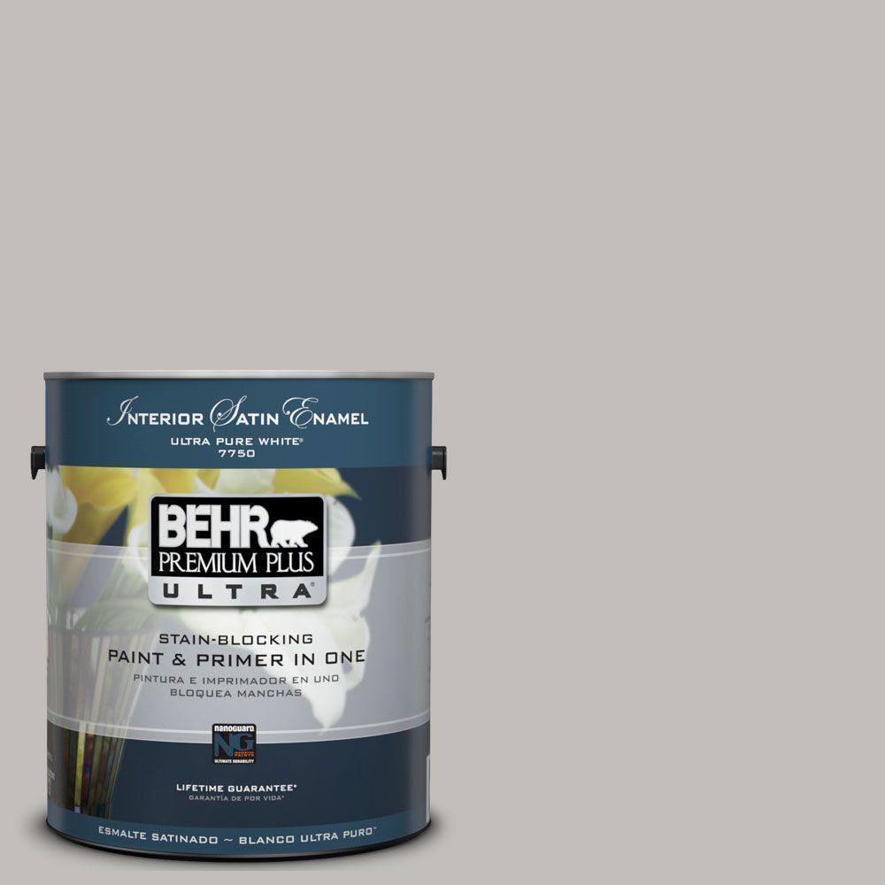 BEHR Premium Plus Ultra 1-Gal. #UL260-11 Natural Gray Interior Satin Enamel Paint