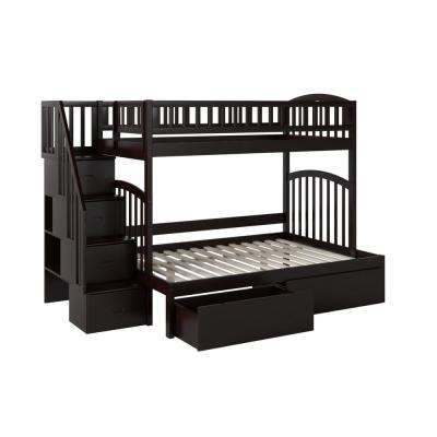 Westbrook Espresso Twin Over Full Staircase Bunk with 2-Urban Bed Drawers
