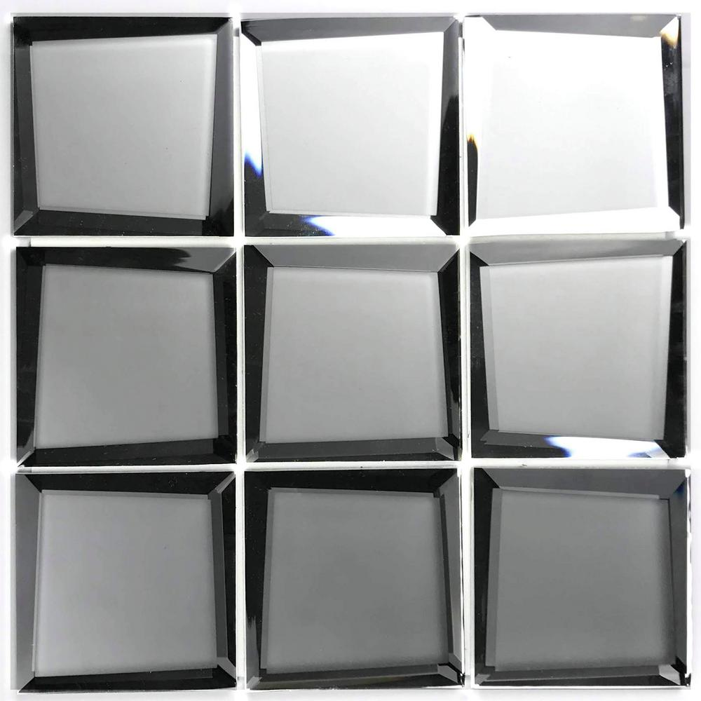 """abolos mosaic 3"""" x 3"""" square silver beveled glass mirror"""