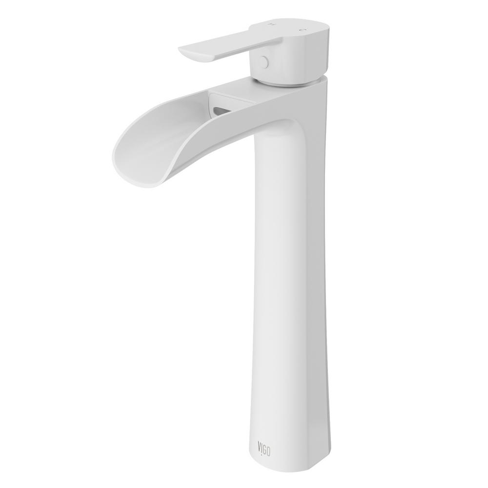 Vigo niko single hole single handle vessel bathroom faucet White single handle bathroom faucet