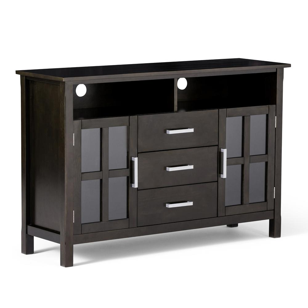 Simpli Home Kitchener Solid Wood 53 in. Wide Contemporary TV Media Stand in Dark Walnut Brown for TVs Upto 55 in., Dark walnut brown stain finish with
