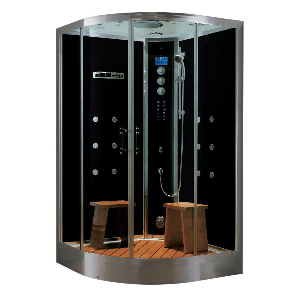 Steam Planet Universe Plus 48 in. x 48 in. x 88 in. Steam Shower Enclosure Kit with 4.2kw Generator in Black