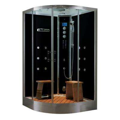 Universe Plus 48 in. x 48 in. x 88 in. Steam Shower Enclosure Kit with 4.2kw Generator in Black
