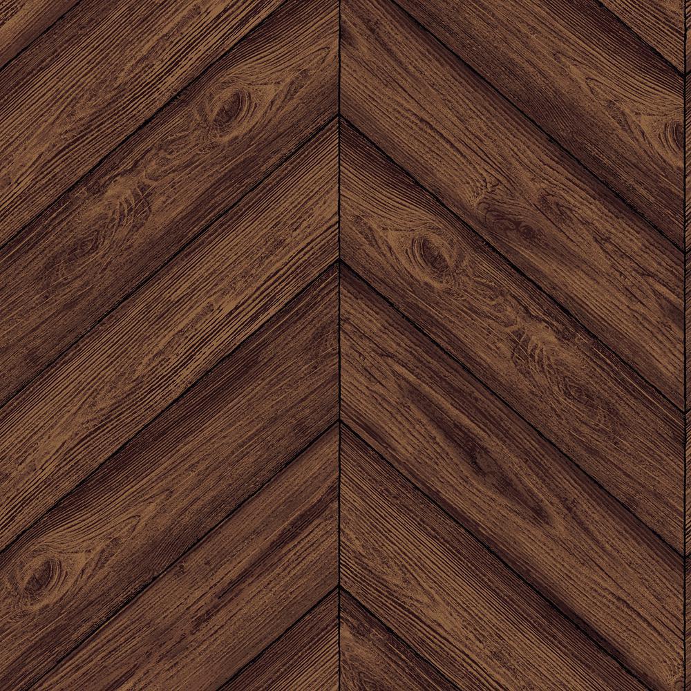 Tempaper Wallpaper: Tempaper Walnut Herringbone Wallpaper-HE093