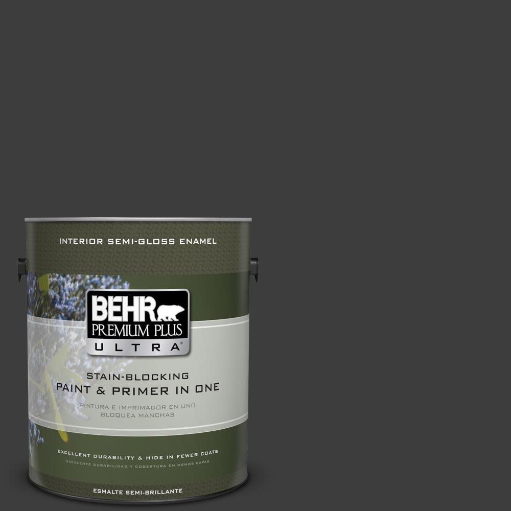 1 gal. Black Semi-Gloss Enamel Interior Paint and Primer in One