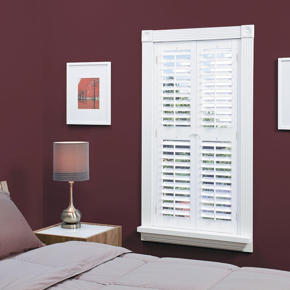 Interior Plantation Shutters Home Depot custom shutters no problem Homebasics Plantation Faux Wood White Interior Shutter Price Varies By Size