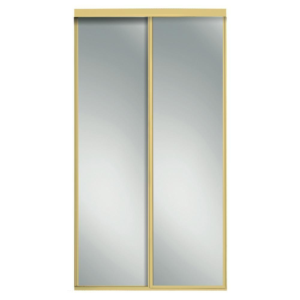 Contractors Wardrobe 48 in. x 96 in. Concord Mirrored Bright Gold Aluminum Interior Sliding Door