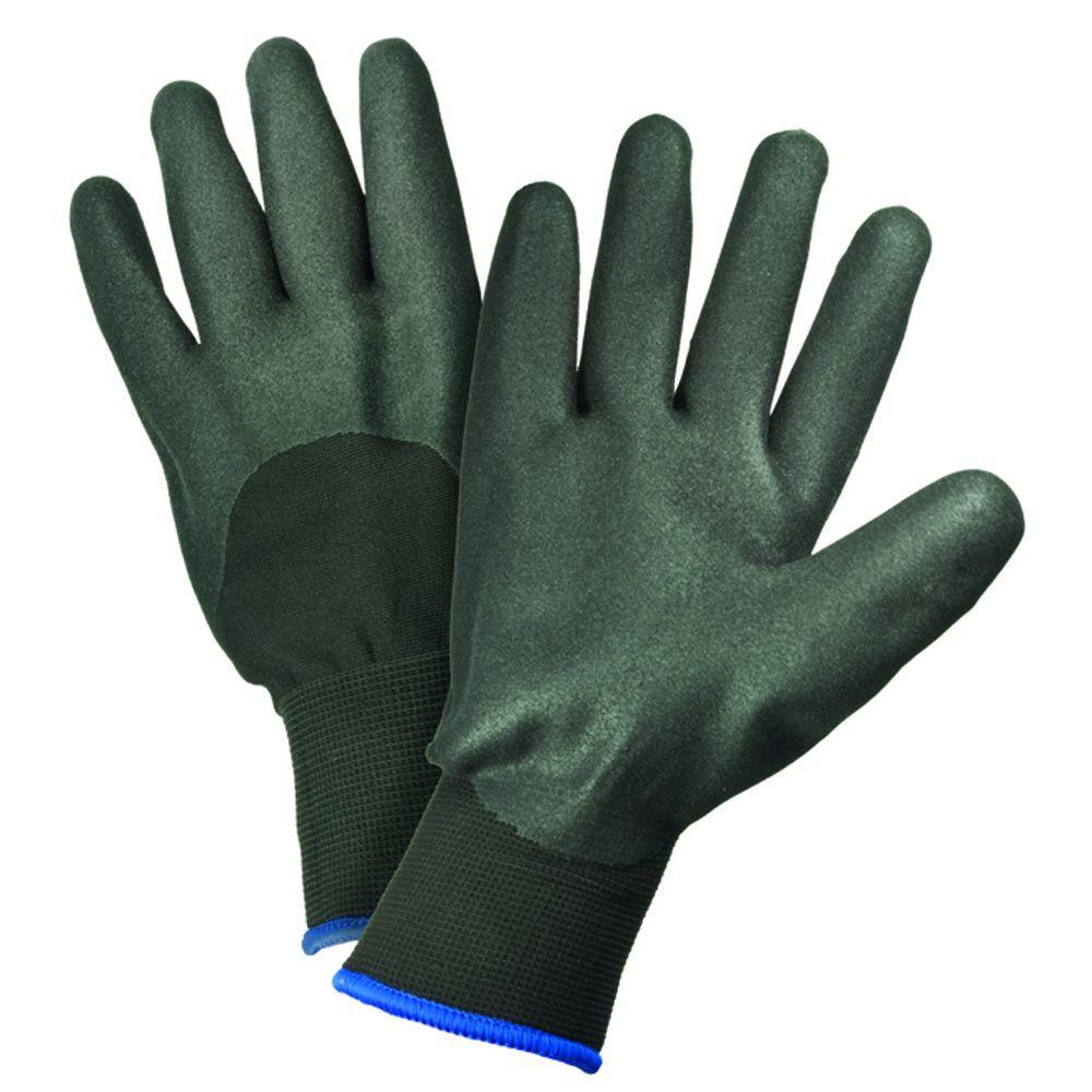 Large Black Nitrile Foam Coated Polyester Gloves