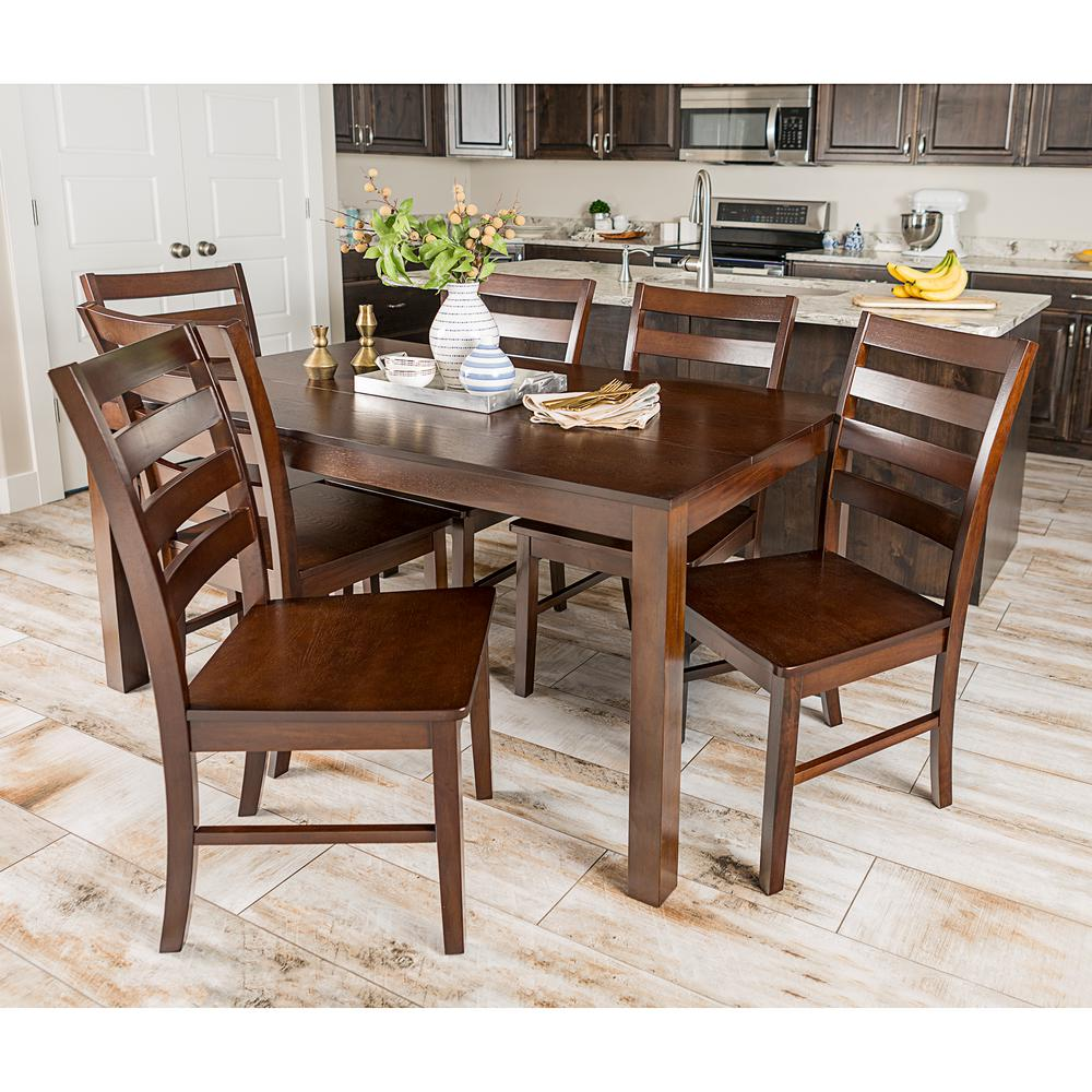 Walker Edison Furniture Company Homestead 7 Piece Walnut Wood Dining Set
