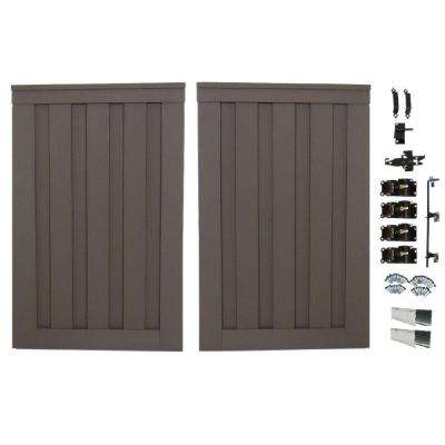 Seclusions 4 ft. x 6 ft. Winchester Grey Wood-Plastic Composite Privacy Fence Double Gate with Hardware