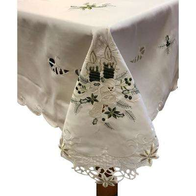 Candlelight 60 in. x 84 in. 100% Ivory Polyester Tablecloth