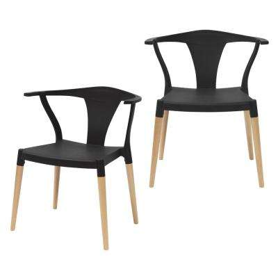 Icon Series Black Modern Accent Dining Arm Chair with Beech Wood Legs (Set of 2)