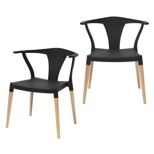 CozyBlock Icon Series Black Modern Accent Dining Arm Chair with Beech