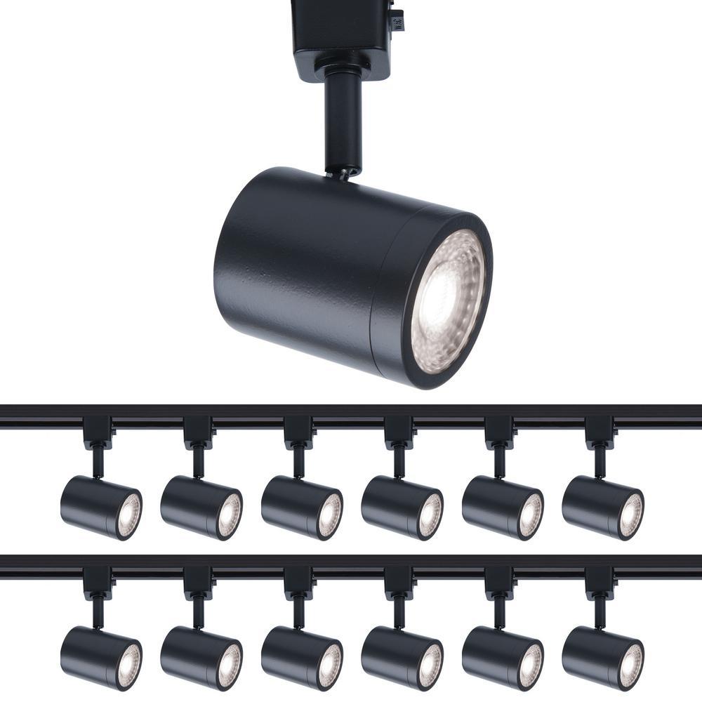 Charge 1-Light Black LED Line Voltage Track Head, 3000K for H Track (12-Pack)