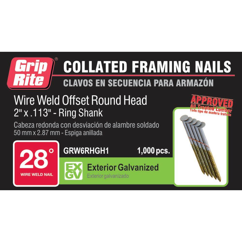 """Grip Rite 2/"""" X .113/"""" 6D Ring Shank Galvanized 28° Clipped Wire Nails 5000"""
