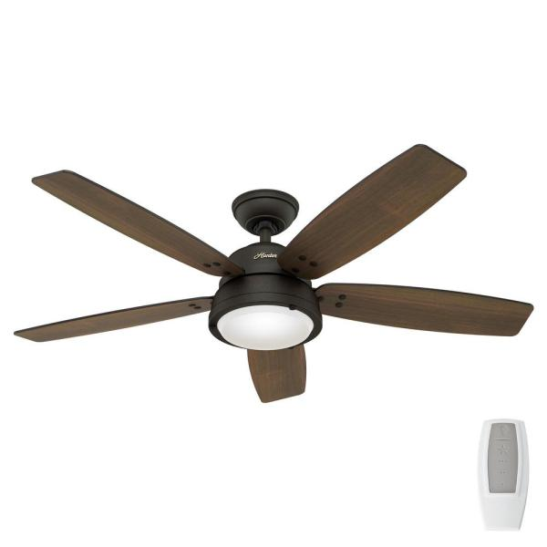 Hunter Channelside 52 In Led Indoor, Outdoor Ceiling Fans With Remote Control And Light