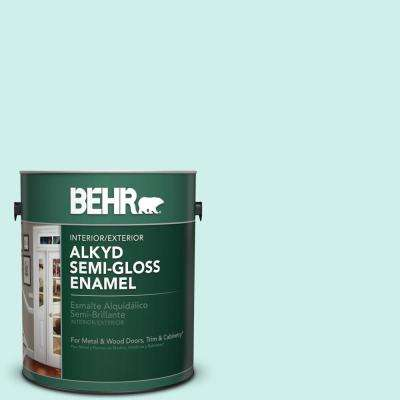 1 gal. #490A-1 Teal Ice Semi-Gloss Enamel Alkyd Interior/Exterior Paint