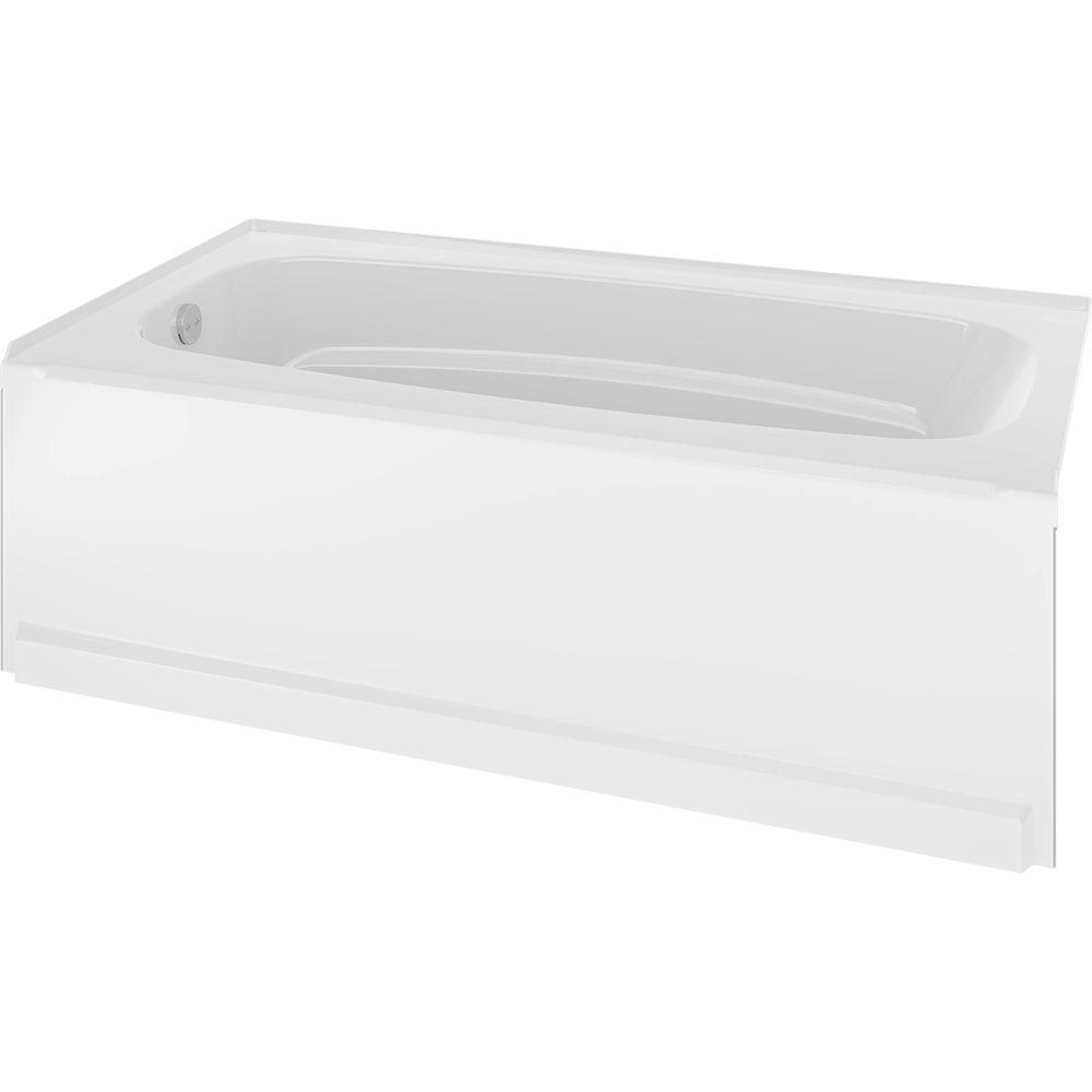 Delta Classic 400 60 in. Left-Hand Drain Rectangular Alcove Bathtub in High Gloss White