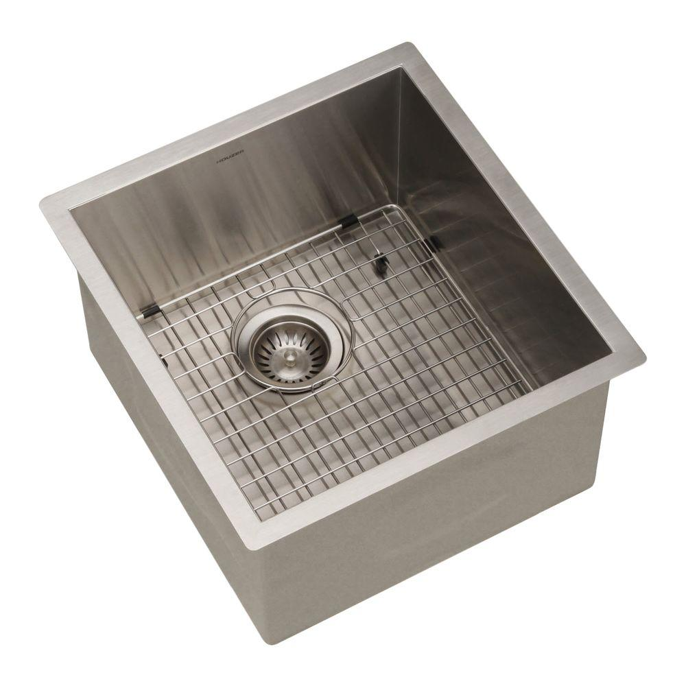 HOUZER Contempo Series Undermount Stainless Steel 17 In. Single Bowl  Bar/Prep Sink CTR 1700   The Home Depot