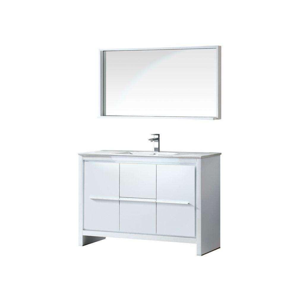Fresca Allier 48 in. Vanity in White with Ceramic Vanity Top in White and Mirror