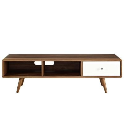 Transmit 55 in. Walnut and White Wood TV Stand with 1 Drawer Fits TVs Up to 57 in. with Cable Management