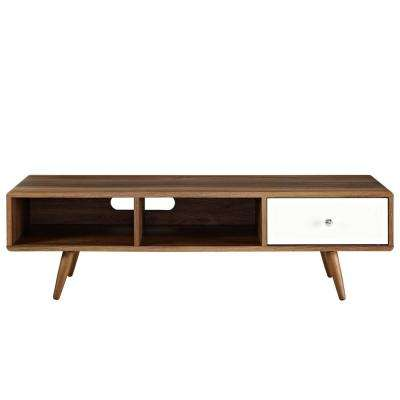 Transmit 55 in. Walnut White TV Stand