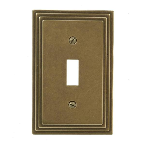 Tiered 1 Gang Toggle Metal Wall Plate - Rustic Brass