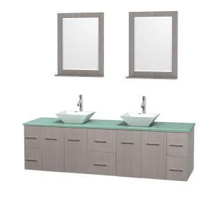 Wyndham Collection Centra 80 inch Double Vanity in Gray Oak with Glass Vanity Top in Green, Porcelain Sinks and 24 inch... by Wyndham Collection