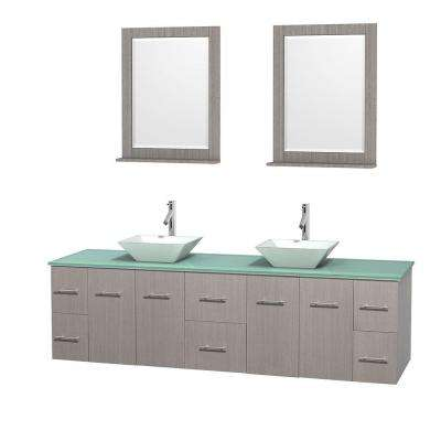 Centra 80 in. Double Vanity in Gray Oak with Glass Vanity Top in Green, Porcelain Sinks and 24 in. Mirrors