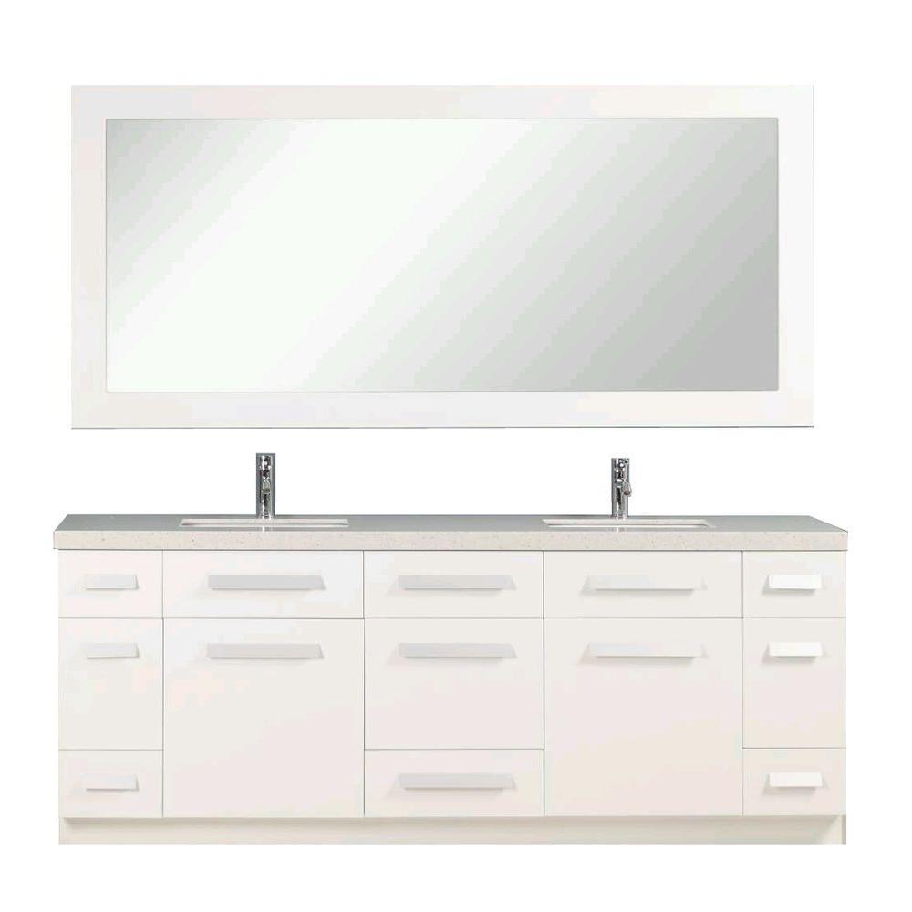 Design Element Double Vanity White Quartz Stone Vanity Top Mirror