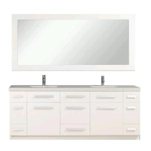 Design Element Moscony 84 inch W x 22 inch D Double Vanity in White with Quartz Stone Vanity Top and Mirror by Design Element
