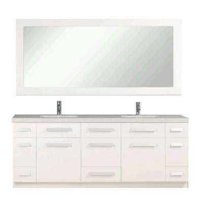 Moscony 84 in. W x 22 in. D Double Vanity in White with Quartz Stone Vanity Top and Mirror