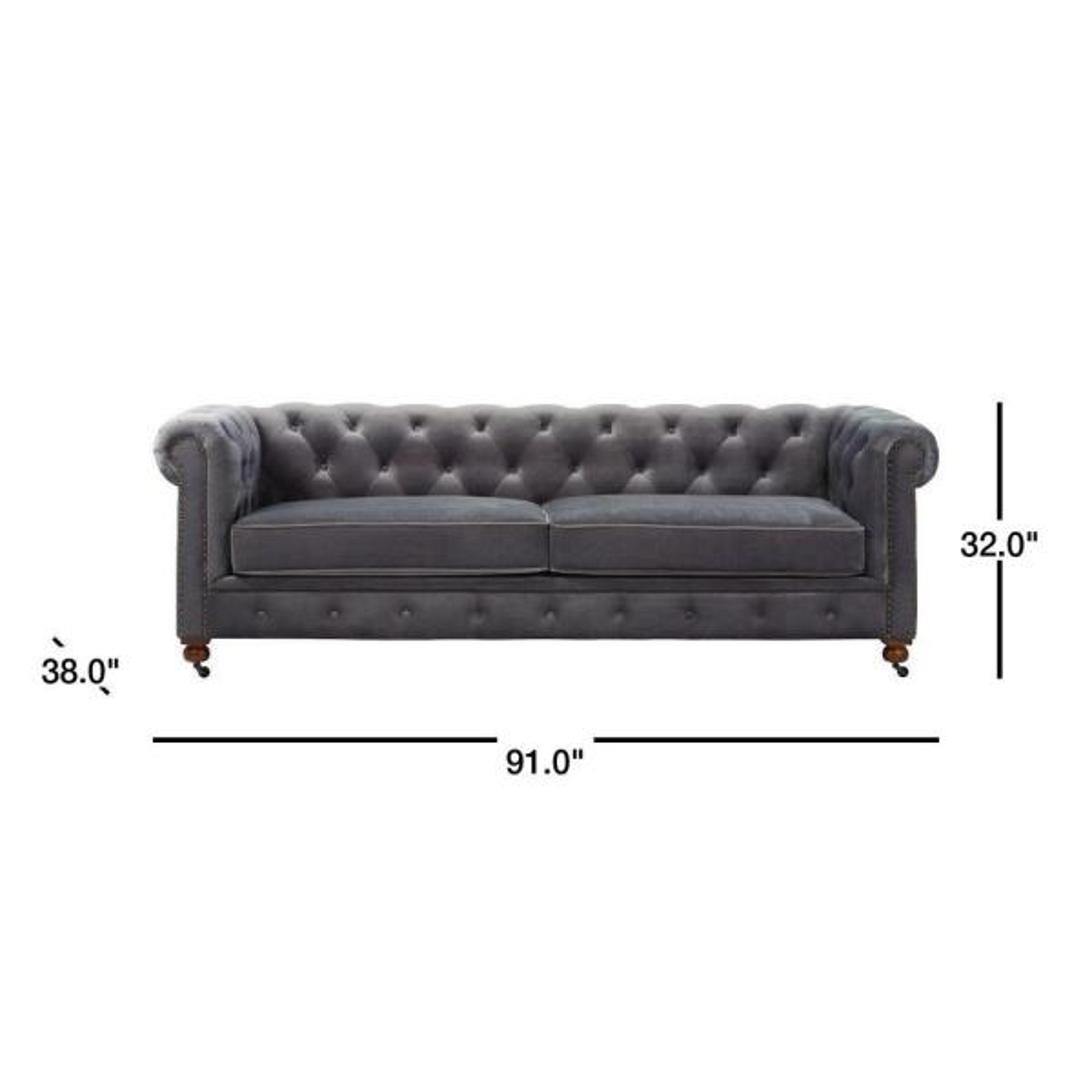 Home Decorators Collection Gordon Grey Velvet Sofa 0849400120 The Home Depot
