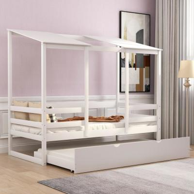 White Twin Beach House Bed with Trundle