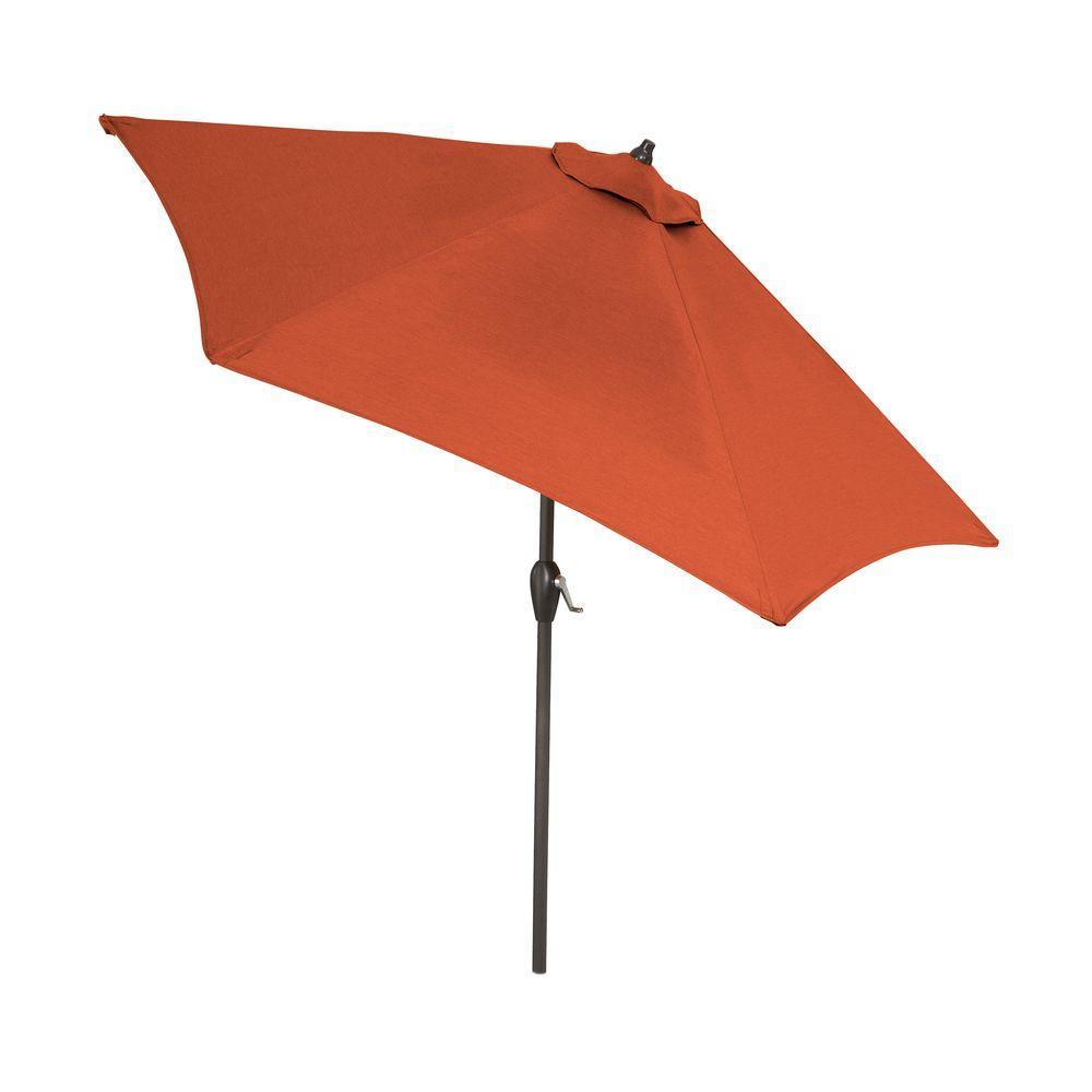 9 ft. Aluminum Patio Umbrella in Quarry Red with Push-Button Tilt