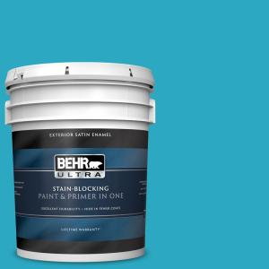 Behr Ultra 5 Gal P480 5 High Dive Satin Enamel Exterior Paint And Primer In One 985405 The Home Depot