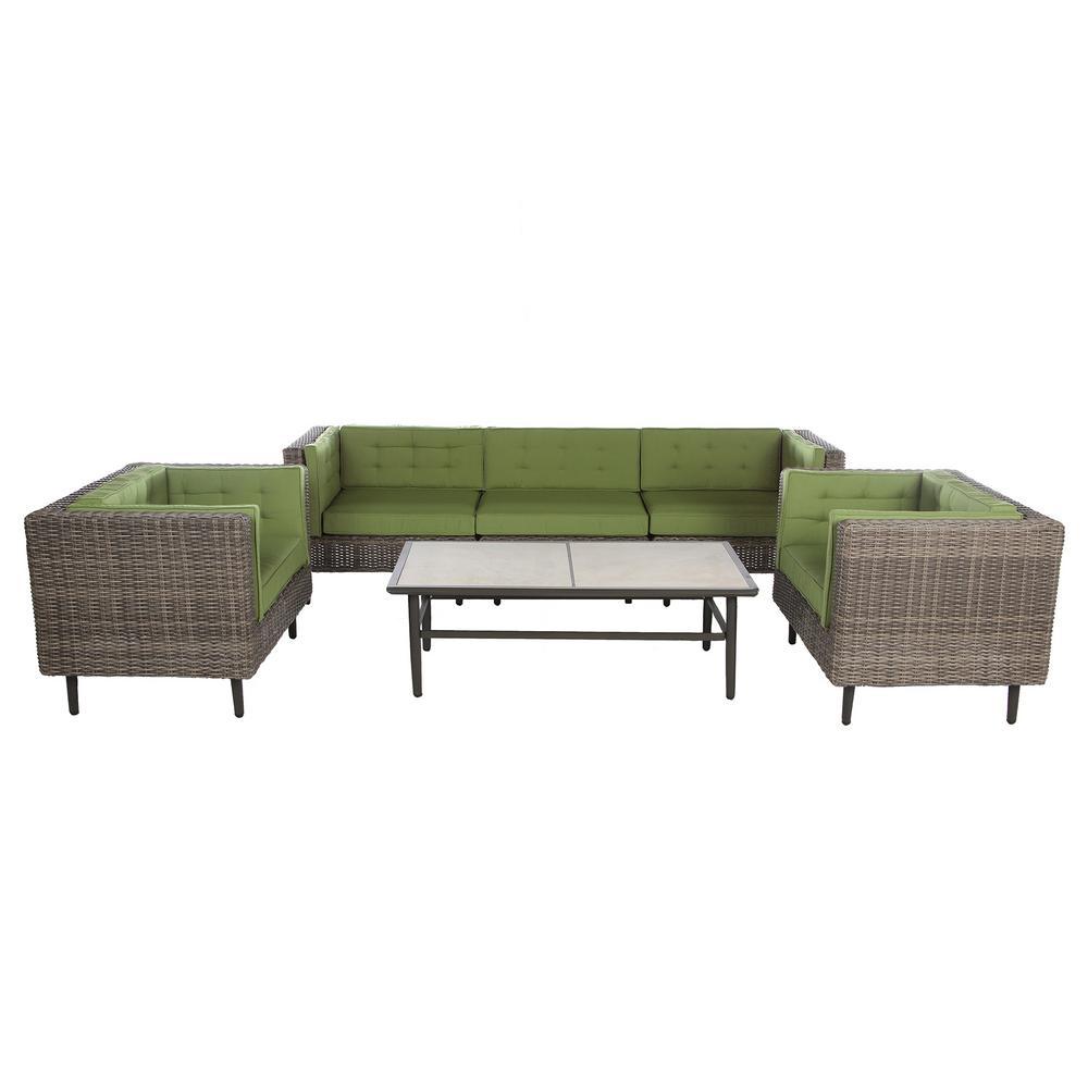 Aimee 6-Piece Wicker Patio Deep Seating Set with Spectrum-Cilantro Cushions