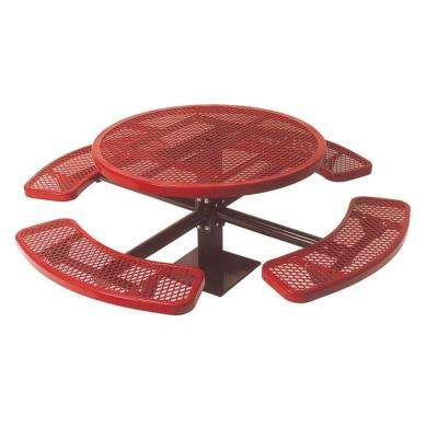 46 in. Diamond Red Commercial Park Surface Mount Round Table