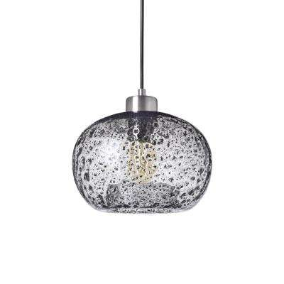 9 in. W x 6 in. H 1-Light Silver Rustic Seeded Hand Blown Glass Pendant Light with Clear Glass Shade