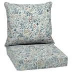 24 in. x 22.5 in. Pistachio Botanical Outdoor 2-Piece Deep Seating Lounge Chair Cushion
