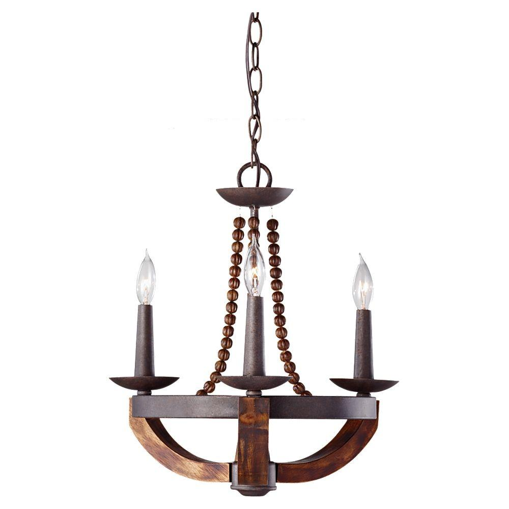 Rustic Wood And Metal Chandelier Part - 23: Feiss Adan 3-Light Rustic Iron/Burnished Wood 1-Tier Chandelier