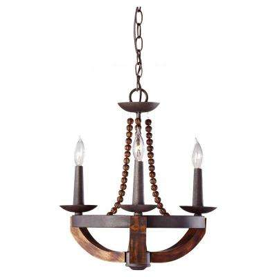 Adan 18 in. W 3-Light Rustic Iron/Burnished Wood Mini Chandelier With Carved Wood Bead Details