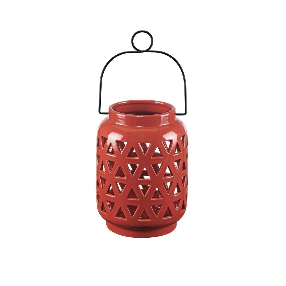 8.5 in. Ceramic Lantern in Chili