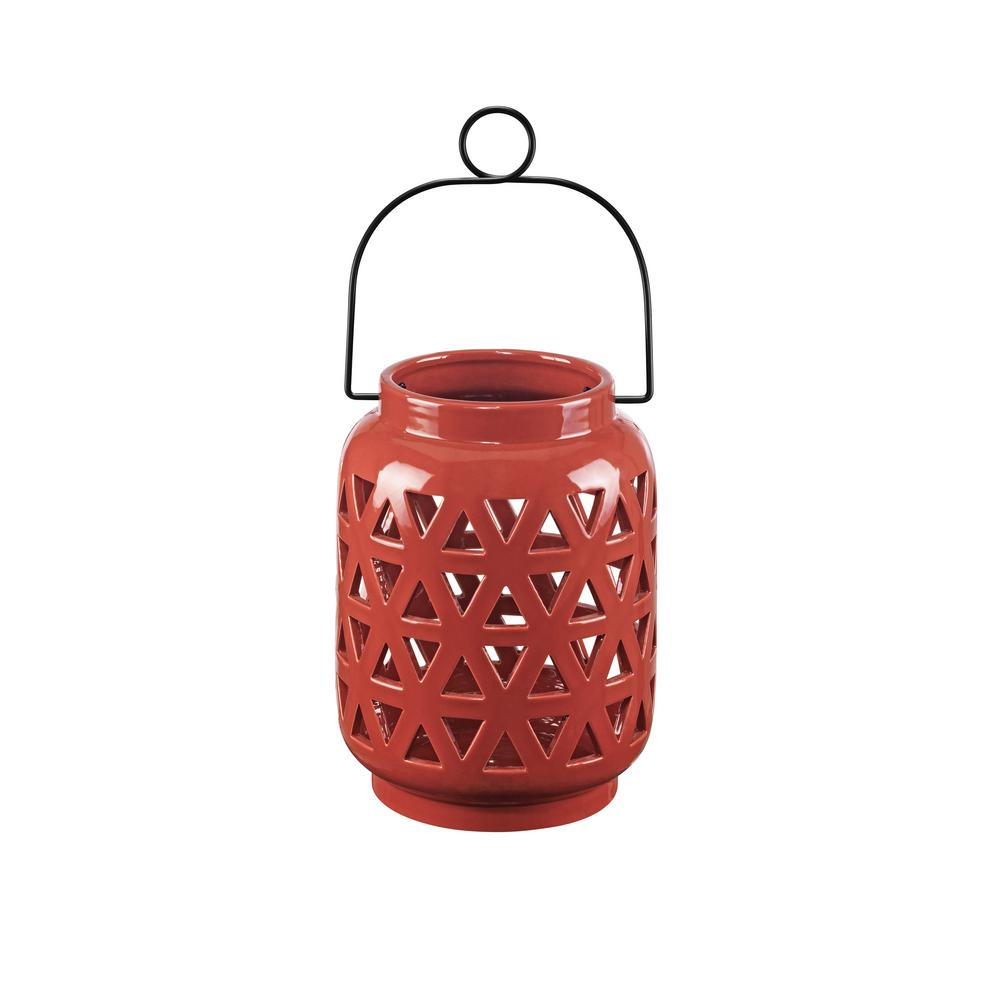 Hampton Bay 8.5 in. Ceramic Lantern in Chili