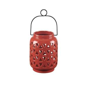 8.5 in. Ceramic Lantern in Chili