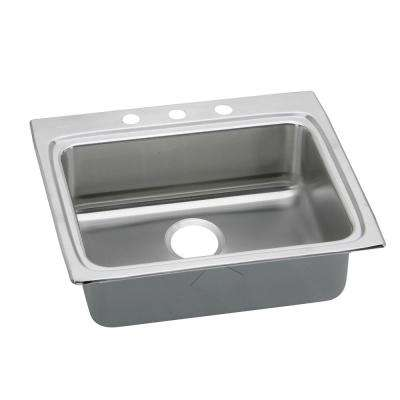 Lustertone Drop-In Stainless Steel 25 in. 3-Hole Single Bowl Kitchen Sink