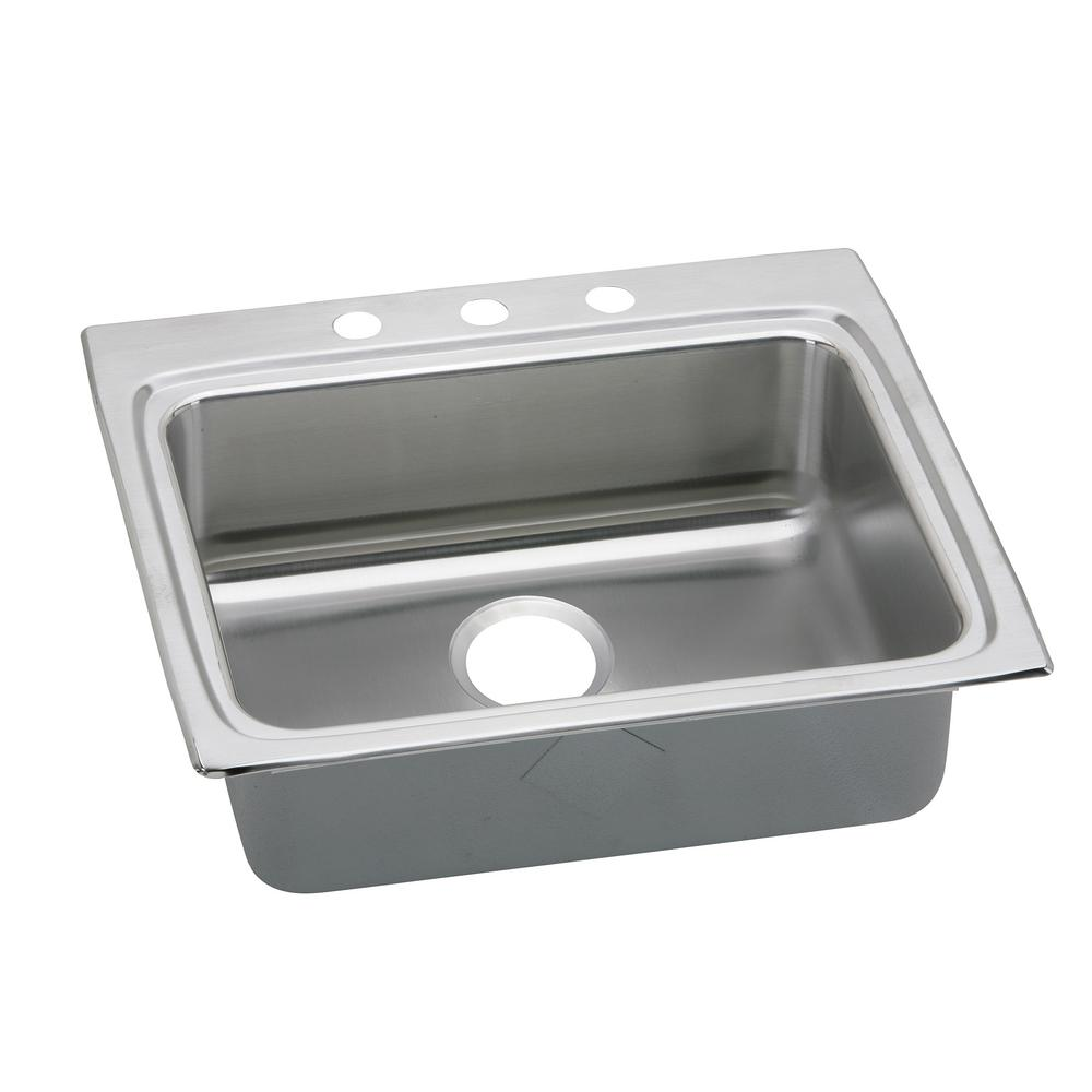 Elkay Lustertone Drop-In Stainless Steel 25 in. 3-Hole Single Bowl ADA Compliant Kitchen Sink with 6.5 in. Bowls
