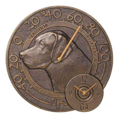 Antique Copper Labrador Thermometer Clock